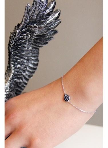 Argentum Concept Siyah Taşlı Gümüş Damla Bileklik - B049701 Gümüş